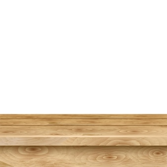 Empty table of light brown wooden planks on white background