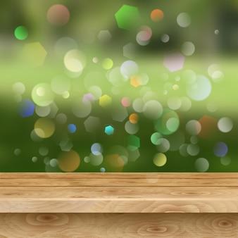 薄茶色の木の板の空のテーブル