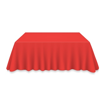 Empty tablecloth on table isolated