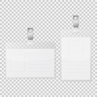 Empty tag badge holder isolated on transparent background