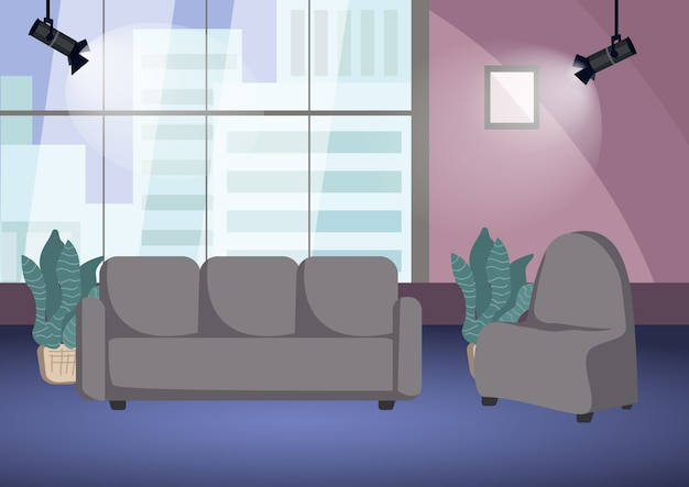 Empty talk show shooting stage  color  illustration