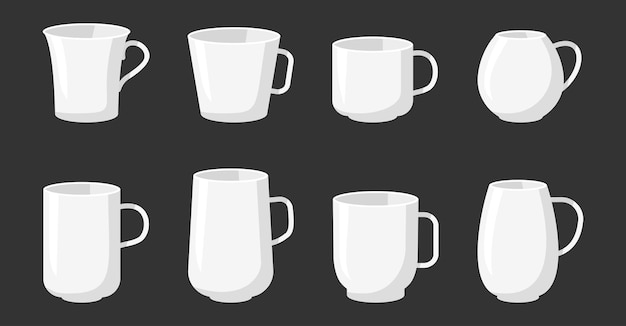 Пустая кружка шаблона белая. набор иконок мультяшном стиле плоской различной формы
