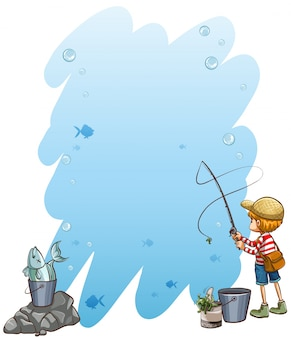 Empty template with a boy holding a fishing rod on a white background