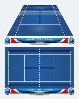 Empty tennis court with set of infographic elements. vector illustration.