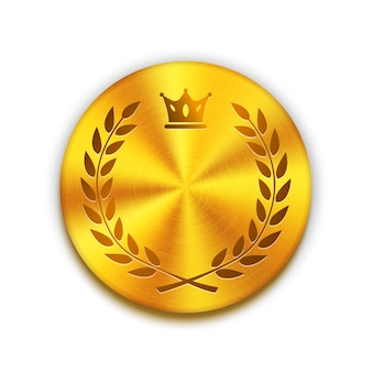 王冠と花輪が付いている空の織り目加工の金色の金属ボタン。ロゴ、バッジ、またはボタンのデザインのテンプレート。ベクトルイラスト