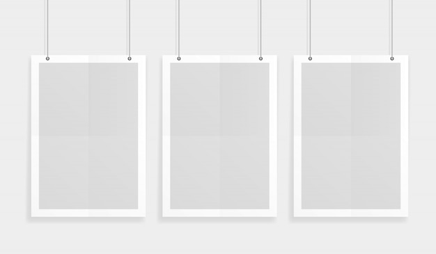 Empty three white a4 sized vector paper mockup hanging with paper clips. show your flyers, brochures, headlines etc with this highly detailed realistic design template element