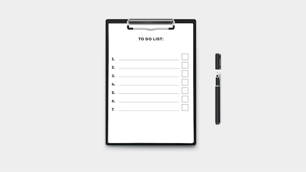 Пустой список дел в буфере обмена с стопкой бумаги a4. изолированные на прозрачном фоне шаблона.