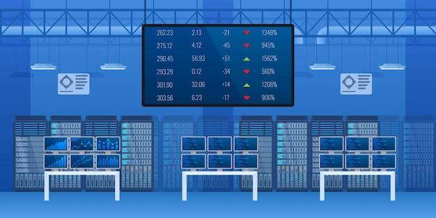 Empty trade exchange market interior. modern financial center with electronic board currency statistic control. finance investment indicator equipment, profit and price monitoring cartoon vector