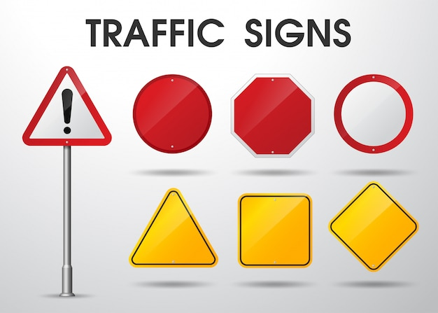 Empty traffic signs isolated
