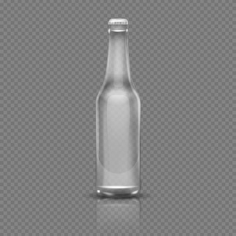 Empty transparent beer or water bottle. realistic 3d vector illustration. empty bottle transparent g