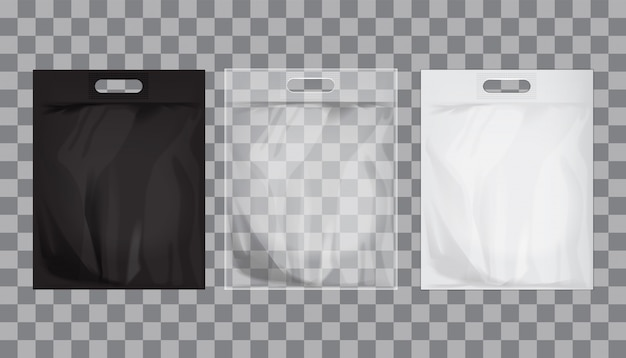 Empty transparent, black, white plastic bag mock up isolated.