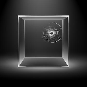 백라이트와 어두운 검은 배경에 고립 된 빈 투명 깨진 균열 유리 상자 큐브