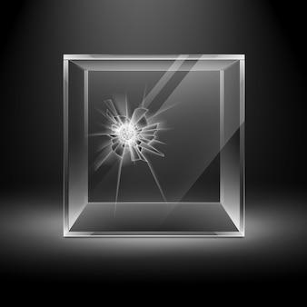 バックライト付きの暗い黒の背景の空の透明な割れたガラスボックスキューブ