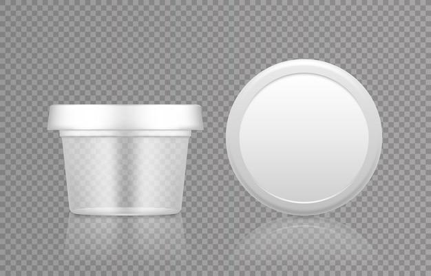 キャップトップビューモックアップ付きの空の透明化粧品瓶