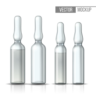 Empty transparent glass ampule and ampule with vaccine or drug for medical treatment. realistic 3d mock-up of ampoule with medicament for injection. blank template of vial. illustration
