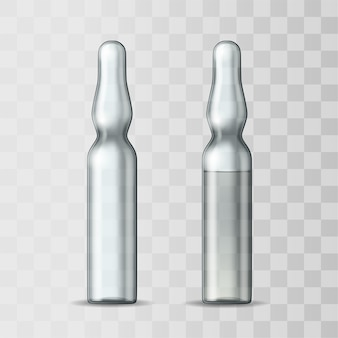 Empty transparent glass ampule and ampule with vaccine or drug for medical treatment. realistic 3d mock-up of ampoule with medicament for injection. blank template of vial.