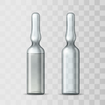 Empty transparent glass ampule and ampule with vaccine or drug for medical treatment. realistic  mock-up of ampoule with medicament for injection. blank template of vial.