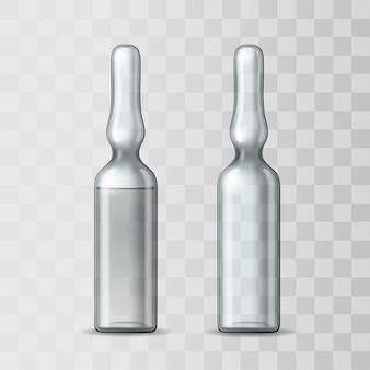 空の透明なガラス製アンプルとワクチンまたは医療用医薬品のアンプル。注射用医薬品を使用したアンプルの現実的なモックアップ。バイアルの空のテンプレート。