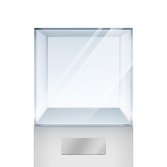 Empty transparent glass box cube  on white background
