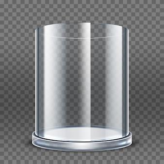 투명 한 배경에 고립 된 빈 투명 유리 실린더입니다. 라운드 쇼케이스. 투명 디스플레이 박스 전시