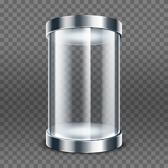 Empty transparent glass cylinder isolated on transparent background. round showcase. exhibit transparent display box