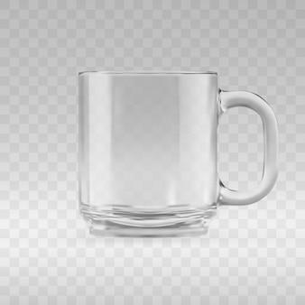 빈 투명 유리 머그잔 모형. 빈 유리 컵 또는 클래식 커피 컵의 현실적인 3d 그림