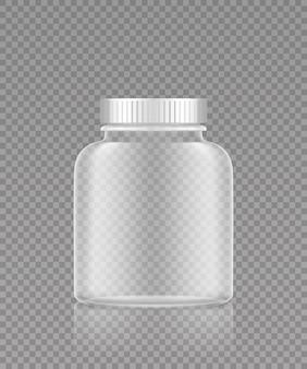 Макет пустой прозрачной пластиковой бутылки для таблеток или пищевых добавок