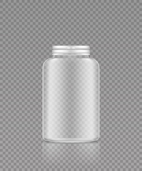 Макет пустой прозрачной пластиковой бутылки для таблеток пищевых добавок или лекарств