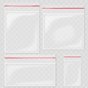 Empty transparent plastic pocket bags