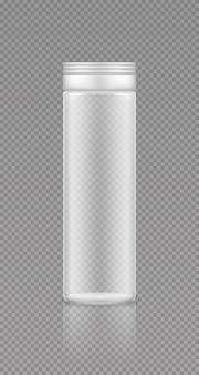 Empty transparent plastic supplement or medicine jar mockup