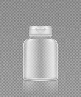 Empty transparent plastic supplement or medicine pills bottle mockup