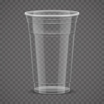 Empty transparent plastic takeaway cup isolated