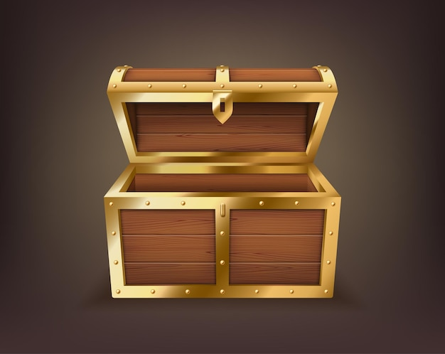 Empty treasure chest, realistic wooden box, open casket isolated. old trunk for gold or jewelry