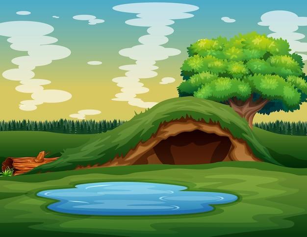 緑の自然のイラストの空の地下動物の穴