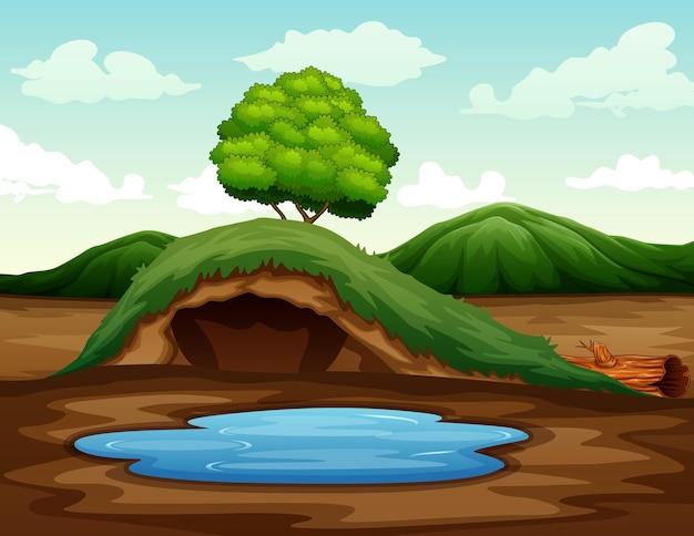 小さな池のイラストと空の地下動物の穴