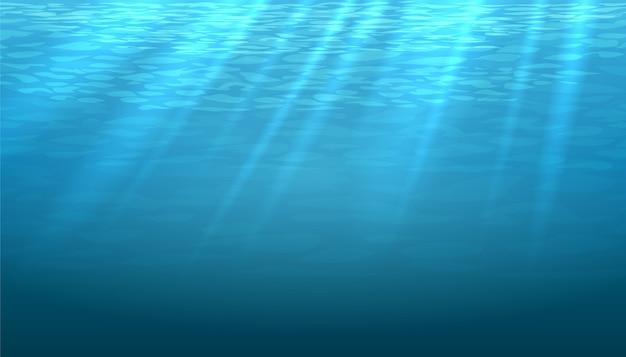 空の水中の青い輝きの抽象的な背景。明るく明るくきれいな海や海