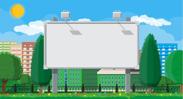 Empty urban big board or billboard with lamp illustration