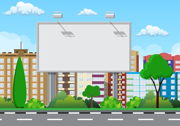 Empty urban big board or billboard with lamp