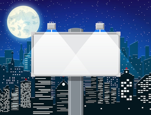 Empty urban billboard with lamp and cityscape