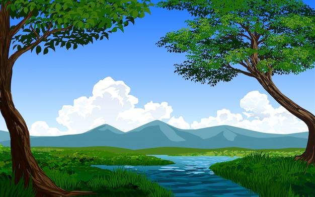 川と空のベクター風景