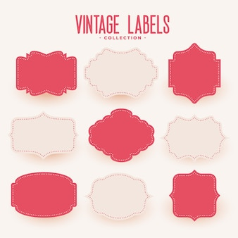 Empty vintage style wedding labels set of nine