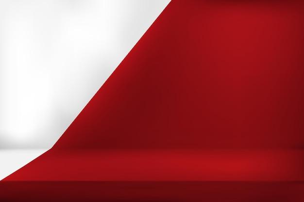 空の鮮やかな赤色の製品ディスプレイ。