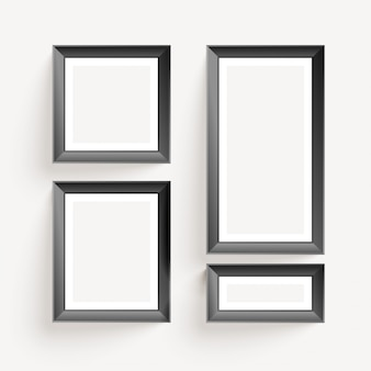 Empty wall photo display frames