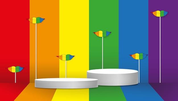 레인보우 프라이드 lgbt 플래그 배경, 벡터 일러스트레이션 그래픽 디자인 기호 모형 배경에서 레즈비언, 게이, 양성애자 및 트랜스젠더를 위한 흰색 연단 디스플레이가 있는 빈 벽 스튜디오 룸
