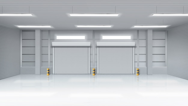 Empty warehouse interior with shatter roll gates