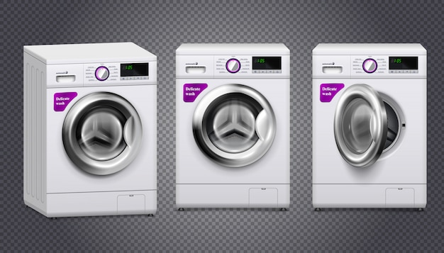 Empty washing machines in white and silver color set isolated on transparent
