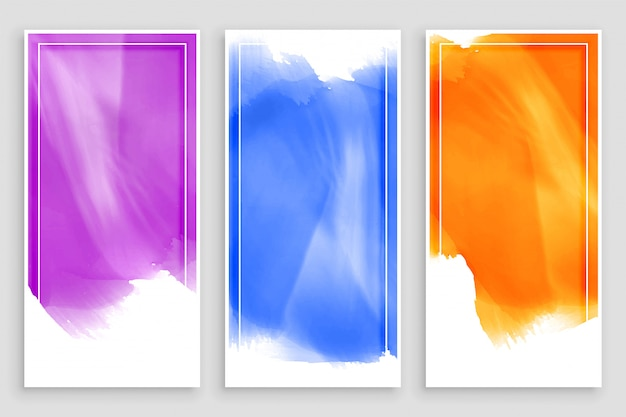 Empty watercolor banners  set design