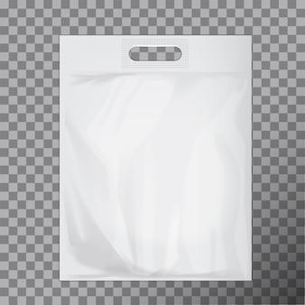 빈 흰색 빈 비닐 봉투입니다. 로고 또는 신원을 표시 할 수있는 소비자 팩. 상용 제품 음식 패킷 핸들