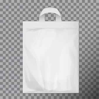 Empty white blank polyethylene bag  . consumer pack ready for logo  or identity presentation. commercial product food packet handle