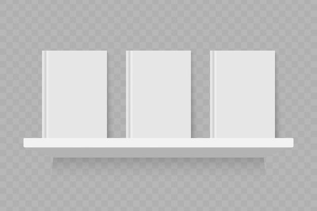 Empty white book on shelf